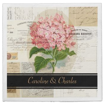 Vintage Pink Hydrangea French Wedding Napkins