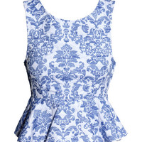 H&M - Short Peplum Top - Blue/patterned - Ladies