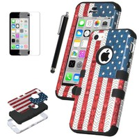 Pandamimi ULAK(TM) Hybrid High Impact Case for iPhone 5C With Soft TPU and Hard PC (USA/Black)