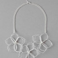 SYDNEY FLORAL STATEMENT NECKLACE IN SILVER