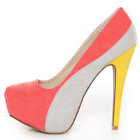 Qupid Penelope 44X Coral Curvy Color Block Platform Pumps - $35.00