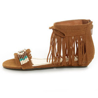 Bamboo Topnotch 02 Chestnut Beaded Fringe Flat Sandals - &amp;#36;28.00