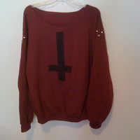maroon off the shoulder Inverted cross by wildblacksheep on Etsy