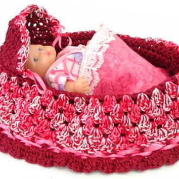 handmade crochet cradle purse travel toy itty bitty baby church purse quiet book  BG#106