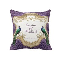 Royal Peacock (Purple) Personalized Anniversary Throw Pillows from Zazzle.com