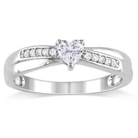 Heart-Shaped Lab-Created White Sapphire and Diamond Accent Promise Ring in Sterling Silver