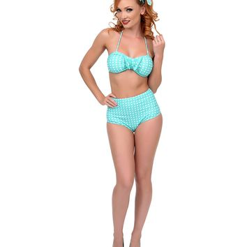 Mint & White Polka Dot Tan Lines Bikini - New Arrivals!