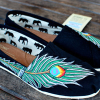 Peacock feather TOMS by BStreetShoes on Etsy