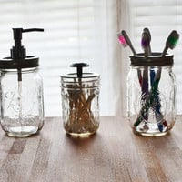 Mason Jar Soap Dispenser Set with Toothbrush Holder and Q-Tip Holder - Clear Glass Bathroom Set - 3 pieces - Gift Set