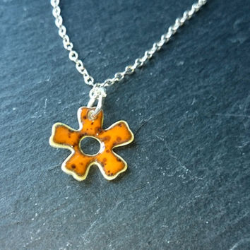 Orange Enamel Flower Flower Necklace Daisy Necklace Organge Necklace Orange Jewellery Enamel on Silver