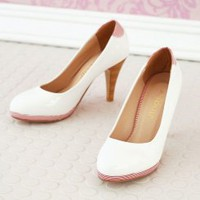 Wholesale Patent leather round toe high heeled shoes QZ-JD815 white - Lovely Fashion