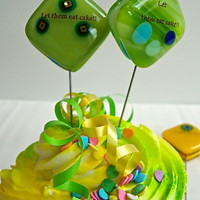 Groovy Green Glass Cake Testers by Design4Soul