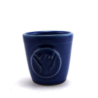 $18.00 Blue Ceramic Cup with Shaka Hang Loose for Rum or Juice by MiriHardyPottery