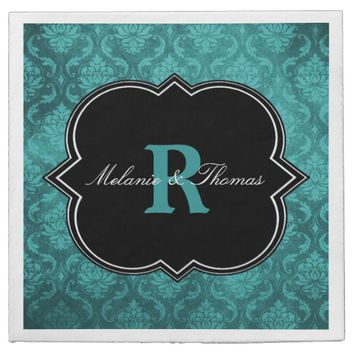 Teal Damask Black Monogram Napkins