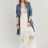 Free People Womens Herringbone Denim Duster - Denim Blue Wash,