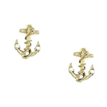 Anchor Stud Earrings - Gold