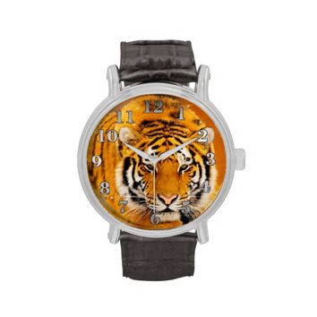 Tiger Vintage Leather Strap Watch