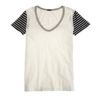 VINTAGE COTTON STRIPE-SLEEVE SCOOPNECK TEE