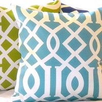 Modern Trellis Inddor/ Outdoor Pillow Set 3 16 X 16 by MicaBlue