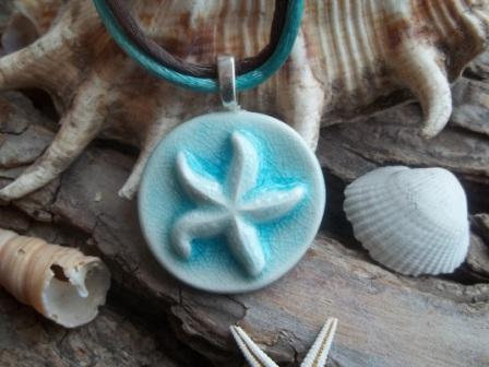 Seashell Starfish Handmade Ceramic Pendant Necklace | Luulla