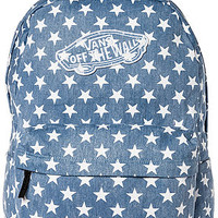 The Real Backpack in Washed Denim with White Stars