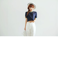 Simple Cropped T-Shirt with Color Ribbed Ends