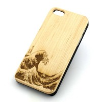 GENUINE WOOD Organic Snap On Case Cover for APPLE IPHONE 5 / 5S - GREAT WAVE OFF KANAGAWA japanese surfing surfer mount fuji sea
