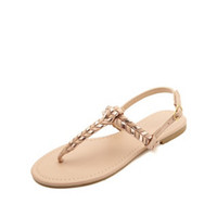 BRAIDED METALLIC T-STRAP THONG SANDALS