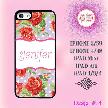 USA Custom Vintage Floral Rose Flower Pattern Monogram @ IPhone 5 / 5S Case , IPhone 4 / 4S Case , IPad Air , IPad Mini Smart Cover #24