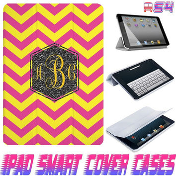 USA Customize Happy Chevron Pattern Monogram On IPad Air, IPad Mini, IPad 4/3/2 Smart Cover PU Leather Magnetic6 Sleep Wake Case #54