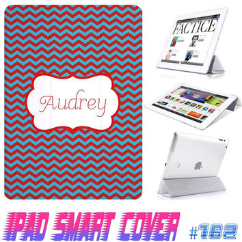 USA Custom Smart Cover Chevron Monogram @ IPad Air Smart Cover , IPad Mini Case ,  IPad 4/3/2 Case Magnetic Sleep Wake Birthday Gift 162