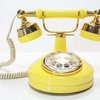 Refurbished Retro Western Electric Yellow Rotary by FishboneDeco