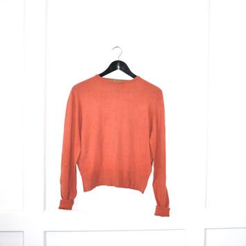 1950s cashmere sweater / burnt orange wool slouchy relaxed fit jumper medium