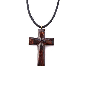 Wood Cross Necklace, Wooden Cross Pendant, Hand Carved Cross, Women Wood Cross, Mens Cross Necklace, Mens Cross Pendant, Christian Jewelry