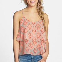 Painted Threads Print Layered Racerback Tank (Juniors)