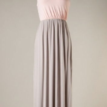 Peach and Taupe one shoulder maxi dress