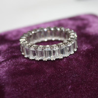 Sterling Eternity Ring CZ Cocktail Vintage 1980s Sterling Silver Jewelry