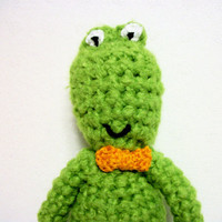 Crochet Frog Plush with Bow Tie Ernest by RopeSwingStudio on Etsy