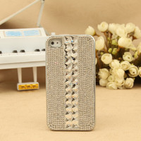 iPhone 4S 4G 3GS iPod Touch Bling Aritificial Rhinestone Crystals Silver Hard Case
