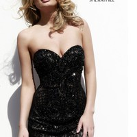 Sherri Hill 9722 - Black Strapless Lace Homecoming Dresses Online