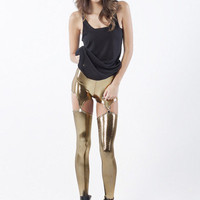 Suspender Liquid Gold Leggings | Black Milk Clothing