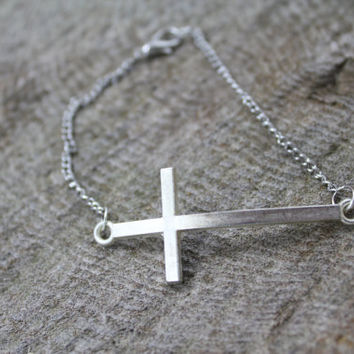 SALE - Inspirational Sideways Cross Bracelet