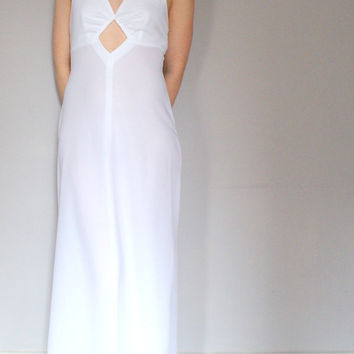 Beautiful Vintage White Maxi Dress 1970's REDUCED