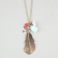 FULL TILT Feather/Bird/Rose Charm Necklace