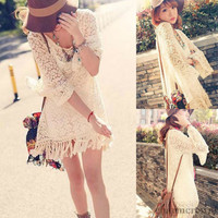 Vintage Sexy Lace Mini Dress Top Hippie Boho Bell Sleeves Gypsy Festival Fringe
