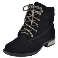Womens Ankle Boots Lace Up Ankle Padded Hiking Casual Comfort Shoes Black SZ