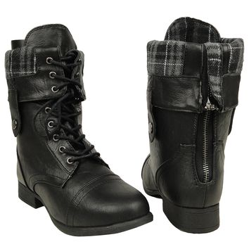 Women's Mid Calf Fold Over Comfort Lace Up Combat Boots US Size 5-10 Black