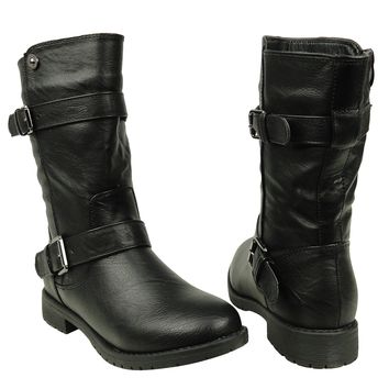 Women's Casual Loose Mid Calf Buckles Combat Comfort Boots US Size 6-10 Black
