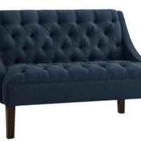 One Kings Lane - Coastal Tradition - Essex Swoop Arm Chaise, Navy