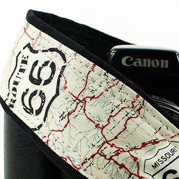 Route 66 Camera Strap, dSLR, US 66, Map, SLR, Vintage map, 158 w